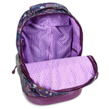 J World New York Sunrise 18-inch Rolling Backpack - Baby Birdy Purple Animal Polyester Adjustable Strap Lined Water Resistant