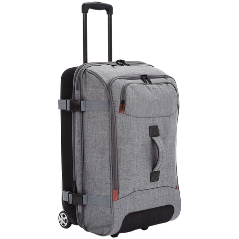 AmazonBasics Rolling Travel Duffel Bag Luggage with Wheels, Medium, Grey