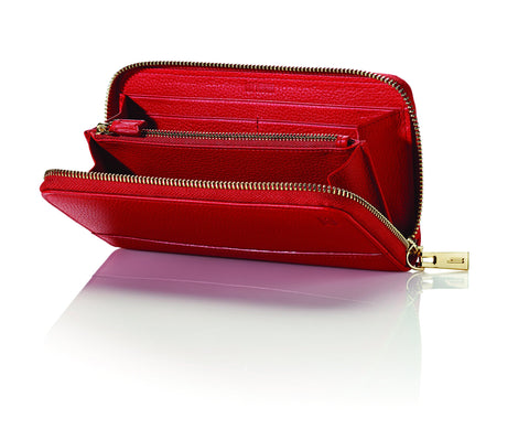 Hartmann Belle City Zip Around Wallet, Red, One Size