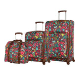 Lily Bloom Luggage 3 Piece Softside Spinner Suitcase Set Collection (Playful Gray)