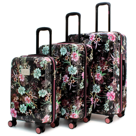 BADGLEY MISCHKA Essence 3 Piece Hard Spinner Luggage Set (Winter Flowers)