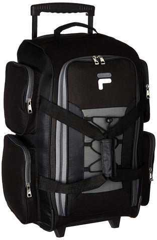 "Fila 22"" Lightweight Carry On Rolling Duffel Bag, Black, One Size"