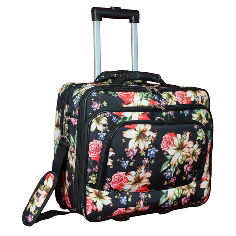 "World Traveler Women's Fashion Print Rolling 17"" Laptop Case-Rose Lily Bag, One Size"