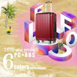 "Coolife Luggage Expandable(only 28"") Suitcase PC+ABS Spinner 20in 24in 28in Carry on (wine wind new, S(20in)_carry on)"