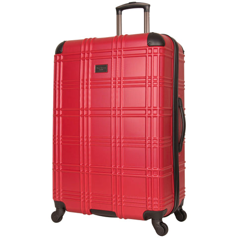 Ben Sherman Nottingham 28-inch Check-Size Lightweight Durable Hardshell 4-Wheel Spinner Upright Luggage, Red