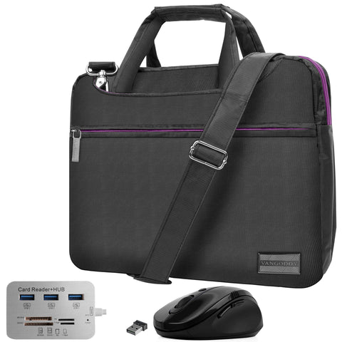 Purple Slim 13.3 inch Laptop Messenger Bag, USB Hub, Mouse for Google PixelBook Go, Pixel Slate, Pixel Book