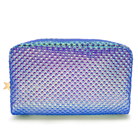 Holographic Cosmetic Bag Makeup Bag Toiletry Travel Bag Handy Large Protable Wash Pouch Waterproof Zipper Handbag Carry Case Organizer Mermaid Makeup Brush bag(shiny purple bag)