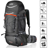 TERRA PEAK Adjustable Hiking Backpack for Men Women Graphite/Orange 65L+20L