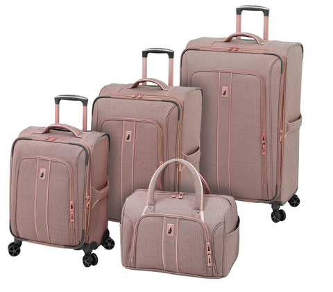London Fog Newcastle 4 Piece Set, Rose Charcoal Herringbone