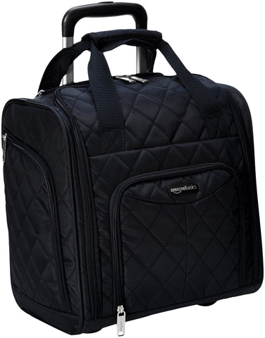 AmazonBasics Underseat Carry-On Rolling Travel Luggage Bag - Black Quilted