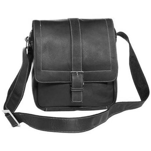 David King Deluxe Medium Leather Messenger w/Buckle