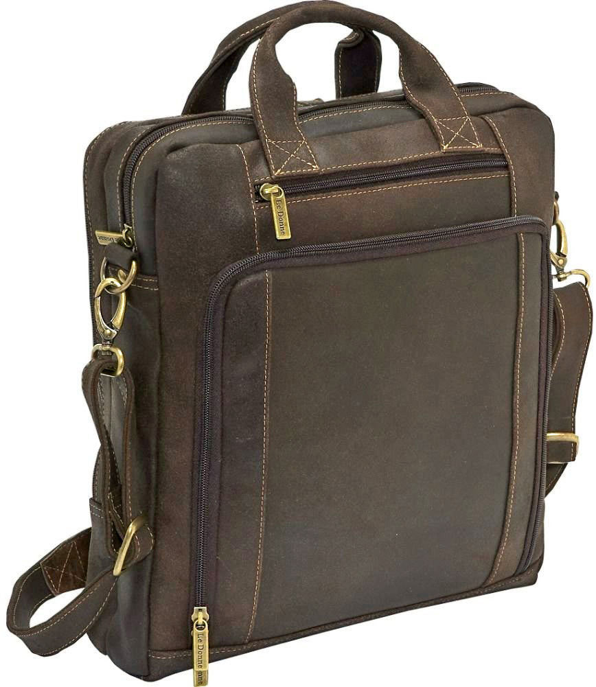 LeDonne Leather Distressed Vertical Laptop Brief