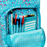 J World New York Sunrise 18-inch Rolling Backpack - Color Dots Blue Polka Dot Polyester