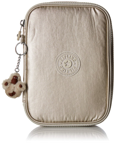 Kipling 100 Pens Pencil, Essential Everyday Case, Zip Closure, Cloud Grey Metallic, One Size