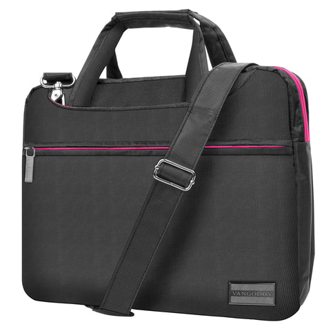 Pink Slim 13.3 inch Laptop Messenger Bag for Google PixelBook Go, Pixel Slate, Pixel Book