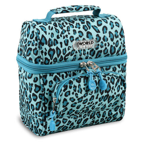 J World New York Corey Lunch Bag, Mint Leopard