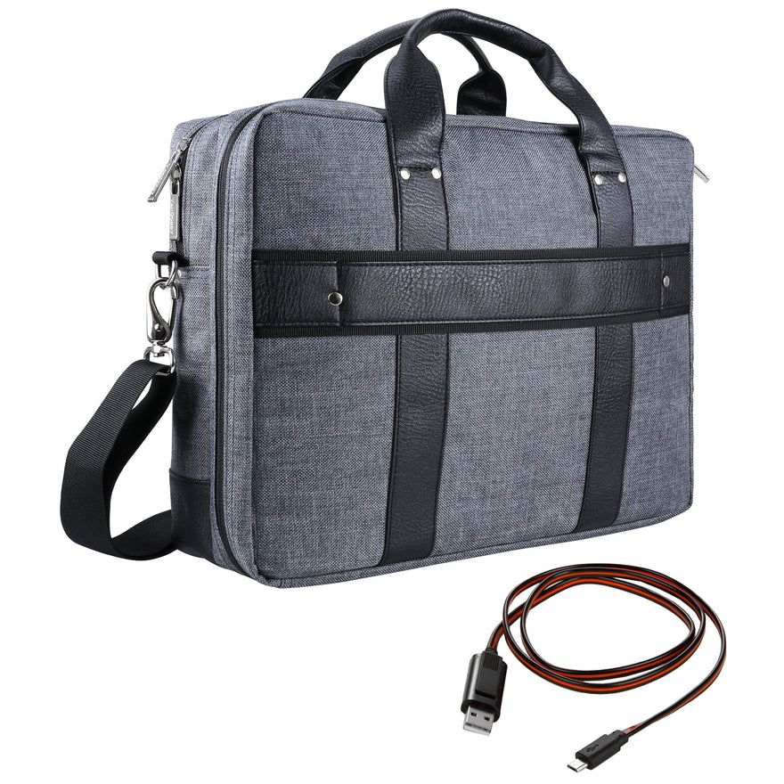 "Vangoddy Chrono Grey Rugged Tote Crossbody Shoulder Bag for Lenovo Flex 3 | IdeaPad | ThinkPad E L P Series 15.6"" Laptop + Sync and Charge Cable"