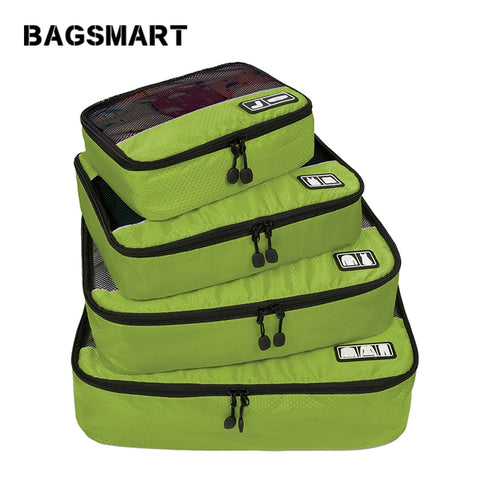 BAGSMART New Breathable Travel Bag 4 Set Packing Cubes Luggage Packing Organizers Weekend Bag
