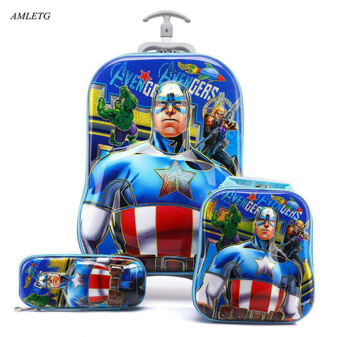 Brand 3d Boy Anime Trolley Bus Box Child Ladder Luggage Travel Rolling Luggage Girl Cartoon Pull