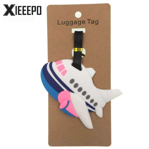 Cartoon Airplane LuggageTag Travel Accessories Silica Gel Suitcase ID Address Holder Women Men