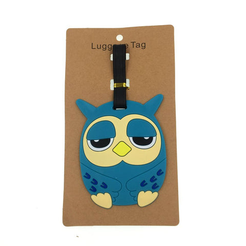 Cartoon Animal Owl Luggage Tag Travel Accessories Silica Gel Suitcase ID Address Holder Baggage
