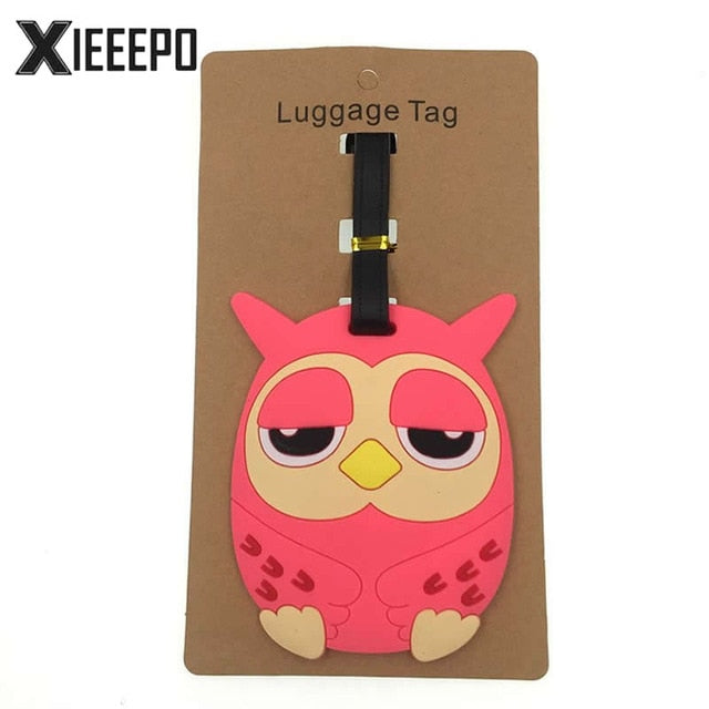 Cartoon Animal Pink Owl Luggage Tag Travel Accessories Silica Gel Suitcase ID Address Holder
