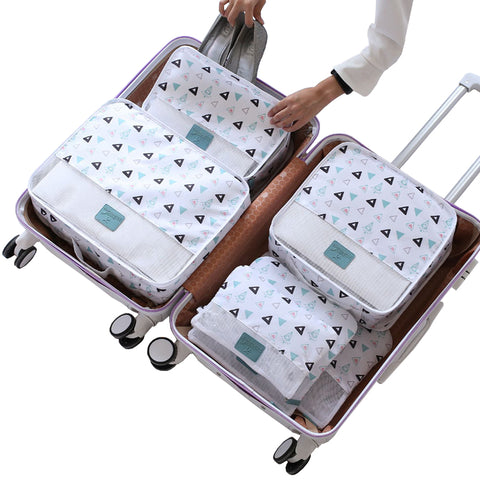 Cartoon pattern 6PCS/Set Travel accessories kit Mesh storage Luggage Organizer Packing Cube for