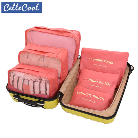 CelleCool 6PCS/Set Oxford Cloth Travel Mesh Bag In Bag High Quality Luggage Organizer Packing