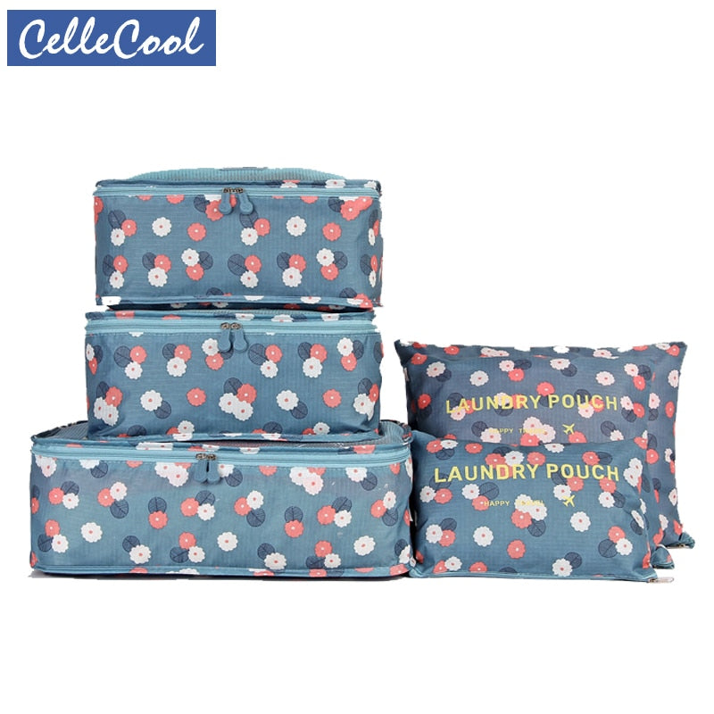CelleCool High Quality 6PCS/Set Oxford Cloth Travel Mesh Bag In Bag Luggage Organizer Packing