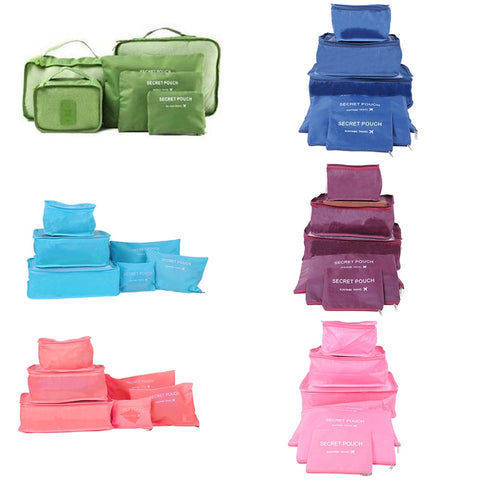 Cosmetic Bag 6pcs In One Set Large Travelling Storage Bag Luggage Clothes Tidy Organizer Pouch