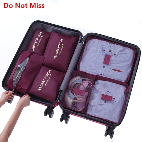Do Not Miss 7pcs/set travel luggage organizer bag Waterproof women Clothing cosmetic arrange
