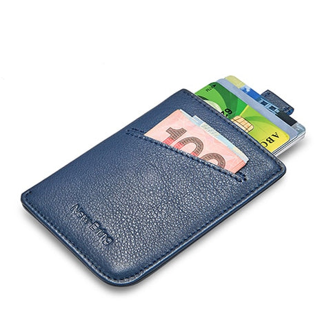 NewBring Slim Leather Wallet Men Credit Card & ID Holders Compact Mini Purse Cash Women Card Holder Sleeve Purse Blue Black