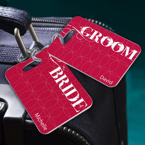 Couples Sojourn Luggage Tag - Bride Groom