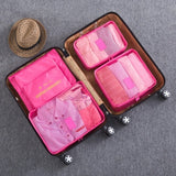 HMUNII New 6PCS/Set High Quality Oxford Cloth Travel Mesh Bag In Bag Luggage Organizer Packing Cube