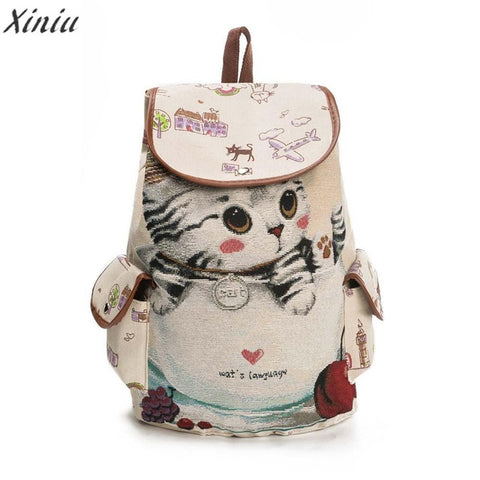 Backpack Women Cute Cat Printing Canvas