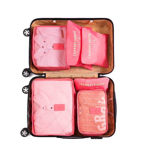 IUX 6pcs/set Fashion Men and Women Luggage Travel Bags Packing  Double Zipper Organizer