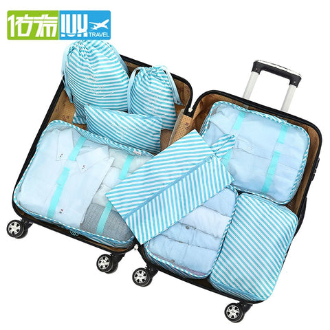 IUX New 8PCS/Set High Quality Oxford Cloth Travel Mesh Bag In Bag Luggage Organizer Packing Cube