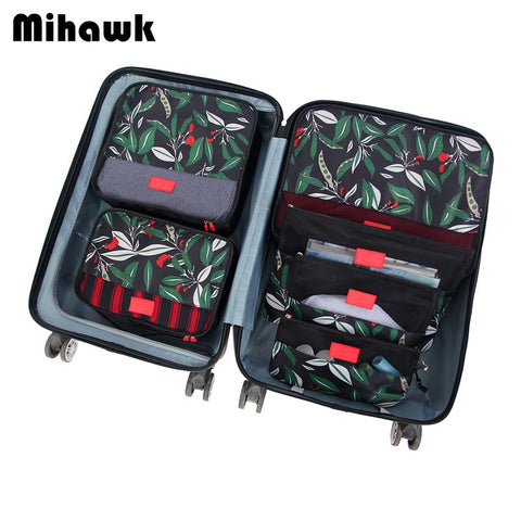 Mihawk 6Pcs/set Packing Cube Travel Bags Portable Large Capacity Clothing Sorting Organizer Luggage