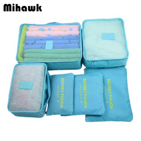 Mihawk 6Pcs/set Portable Travel Bags Large Capacity Packing Cube Clothing Underwear Sorting