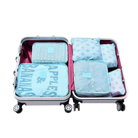 Mihawk Oxford 6Pcs/Set Flamingo Pattern Travel Bags Women's Waterproof Traveling Packing Cube