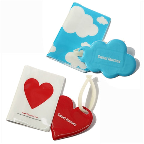 NEW STYLE! Love and Clouds Passport Holder And Luggage Tag With Silicone Strap Three pieces of a