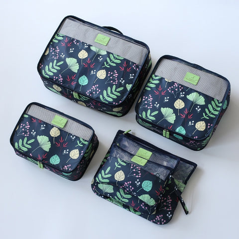 New 6pcs/set High Quality Women Travel Luggage Bag Zipper Waterproof Nylon Organizer Packing bag