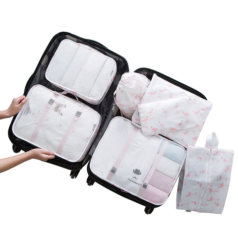 Personality 7PCS/Set High Quality Travel accessories kit Mesh storage Packing Cube for Clothing