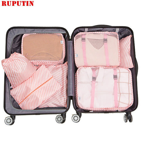 RUPUTIN 7PCS/Set Travel Mesh Bag In Suitcase Luggage Organizer Packing Cube High Quality Clothes