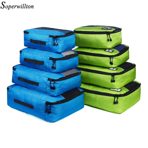 Soperwillton Men Women Travel Bag Male Female 210D Polyester 3 4 6 8 Pieces Packing Cubes Travel