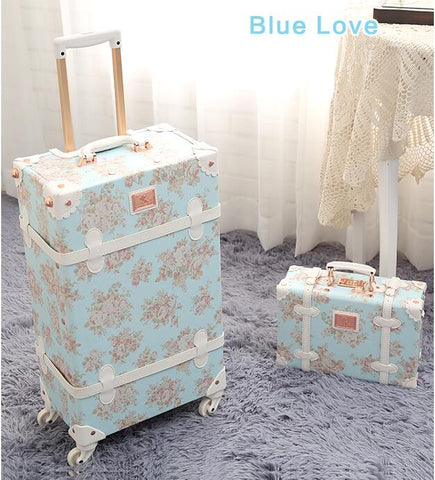 "TRAVEL TALE women 20"" 24"" 26"" travel luggage retro spinner suitcase floral koffers trolleys for"