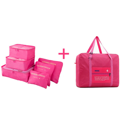 Travel Bags Set Women Luggage Travel Bag Large Capacity Packing Cubes Organizer Nylon Folding