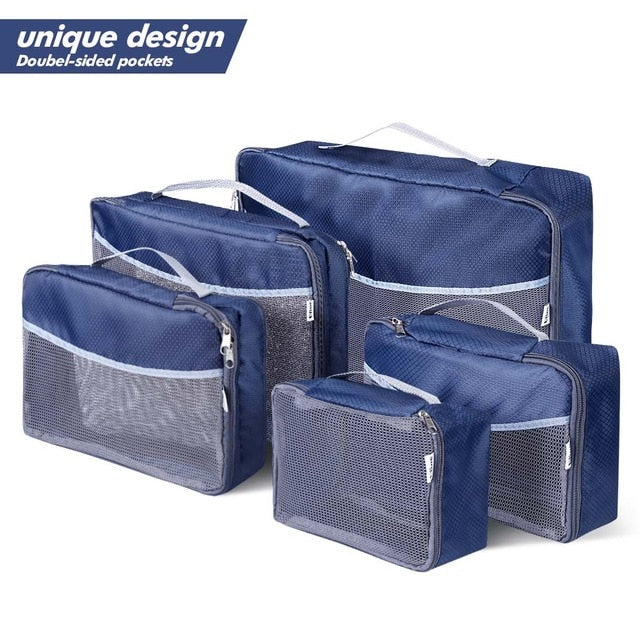 ff3747bdba79 Ufine 5 Set Travel Luggage Organizer-Double Sided Carryon Lightweight  Packing Cubes Storage Bags