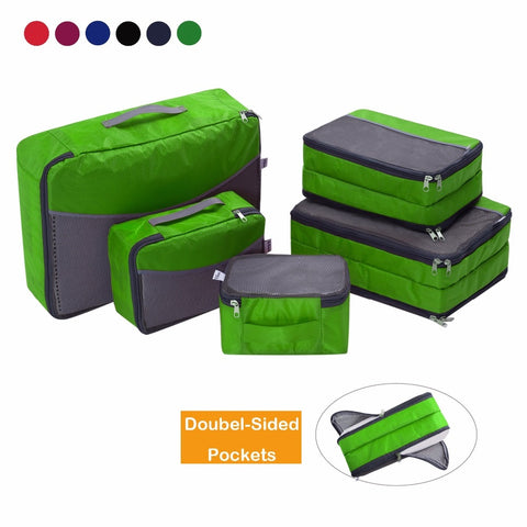 Ufine 5 Set Travel Luggage Organizer-Double Sided Carryon Lightweight Packing Cubes Storage Bags