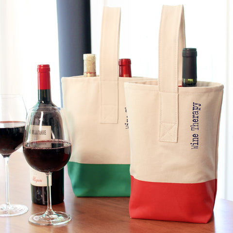 Green Wine Therapy Color Dipped Wine Tote